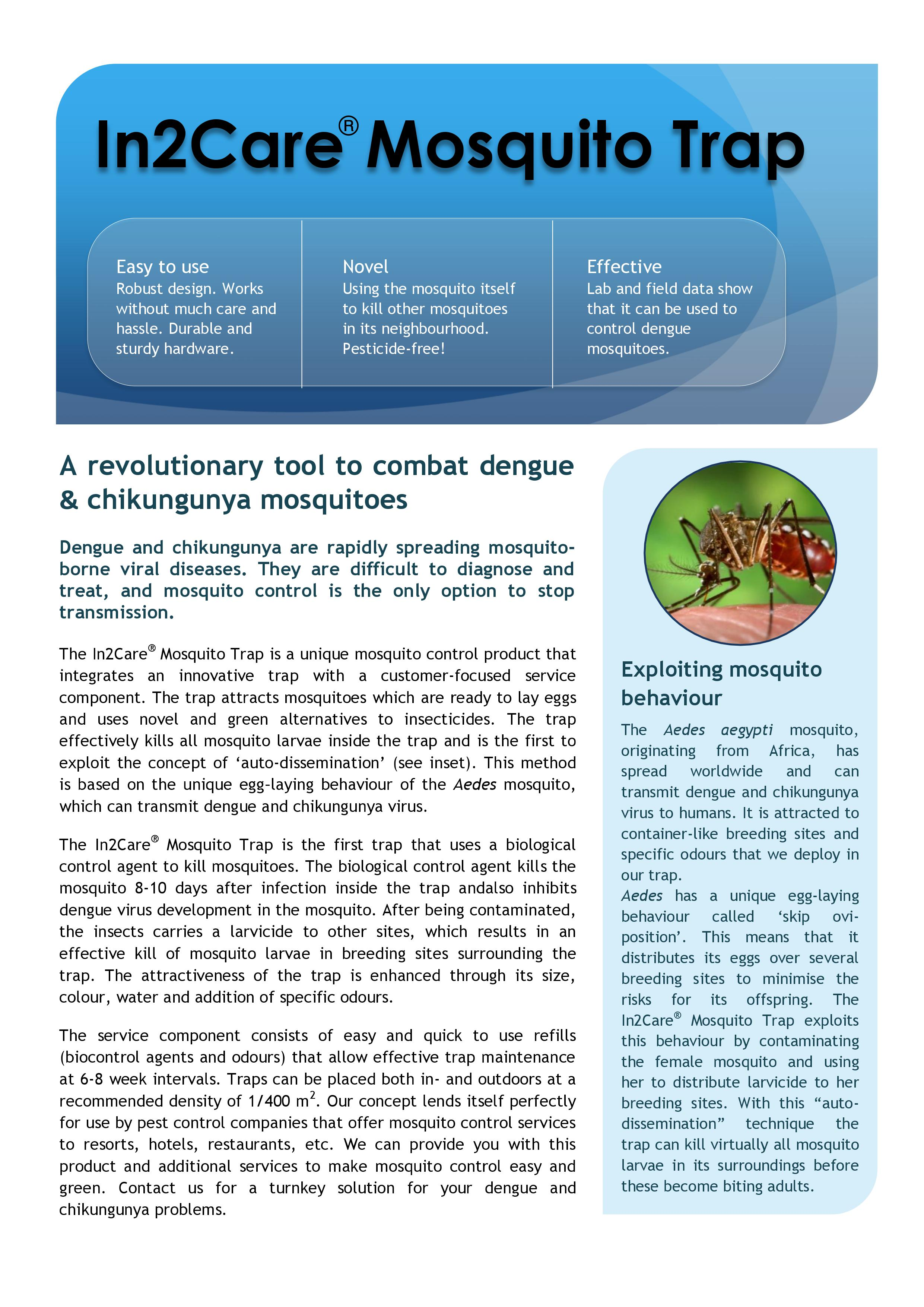 In2Care Mosquito Trap fact sheet